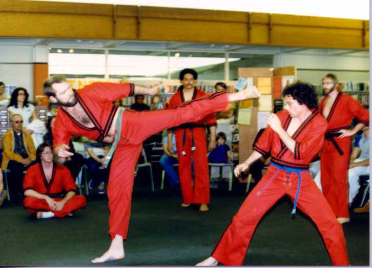 "At a livermore martial arts demo Master Peter Brusso is on the far right in his now famous ""disco gi"""