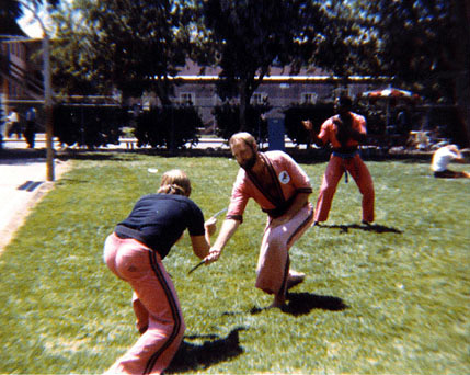 Master Peter Brusso and Cal Feamster knife fighting at Lawrence Livermore Labs LLNL