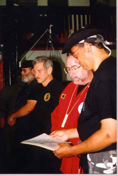 Master Peter Brusso giving out a belt during one of the many belt tests in Anjing Banfa. Standing next to me is my Ninja Teacher Master Ed Martin